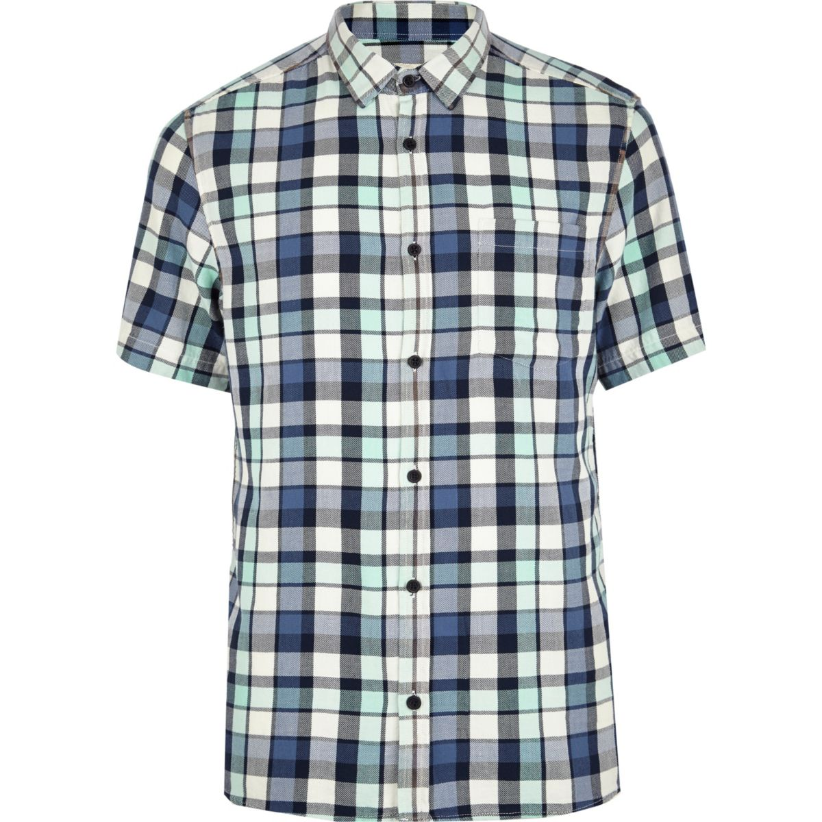 Black washed check short sleeve shirt