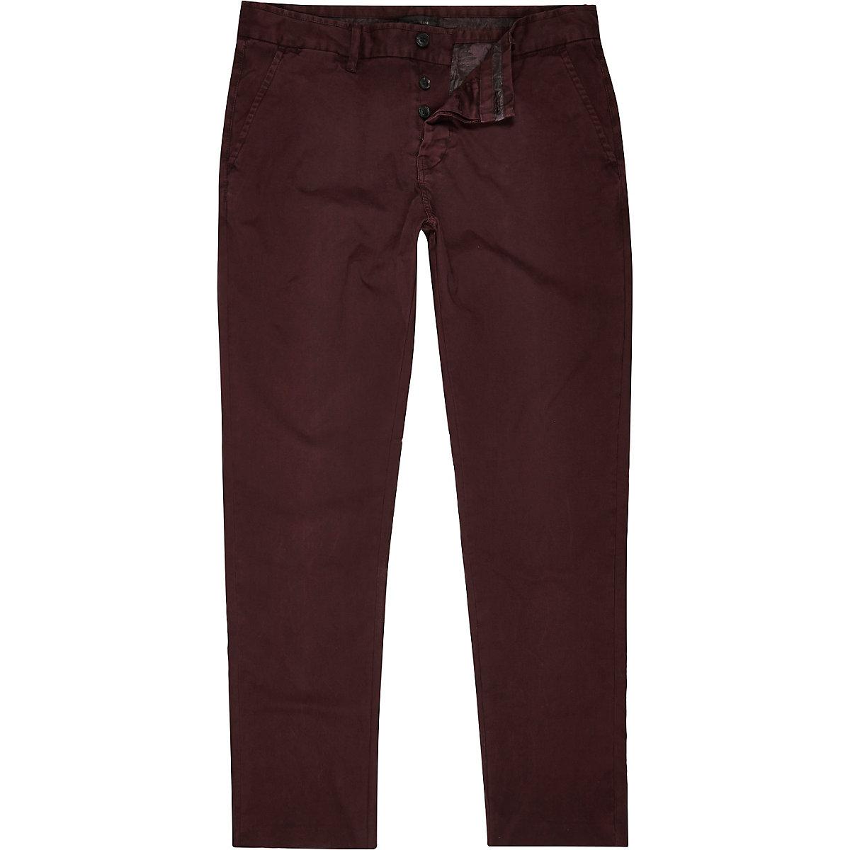 Pantalon chino rouge baie coupe slim