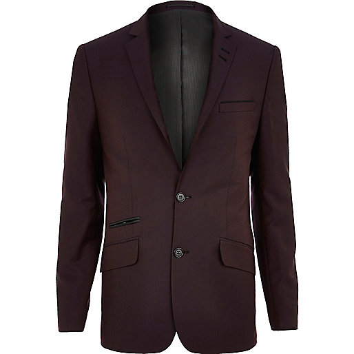 Burgundy skinny suit jacket - suits - sale - men