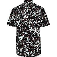 Black blurred floral print short sleeve shirt