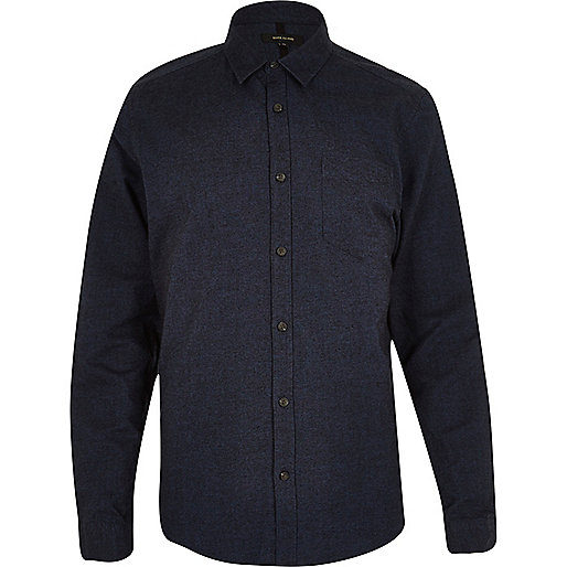 Navy brushed cotton Oxford shirt