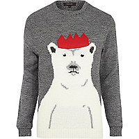 Grey polar bear Christmas sweater