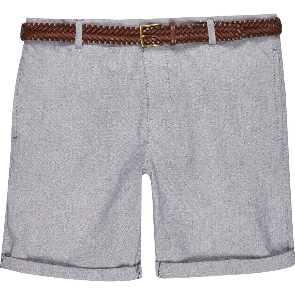 Navy Oxford belted bermuda shorts