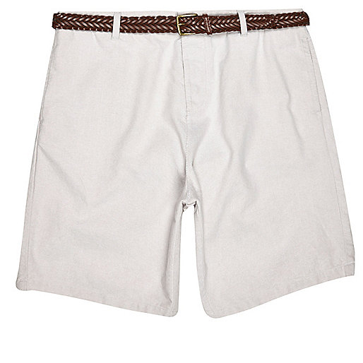 Grey slim fit belted Oxford shorts