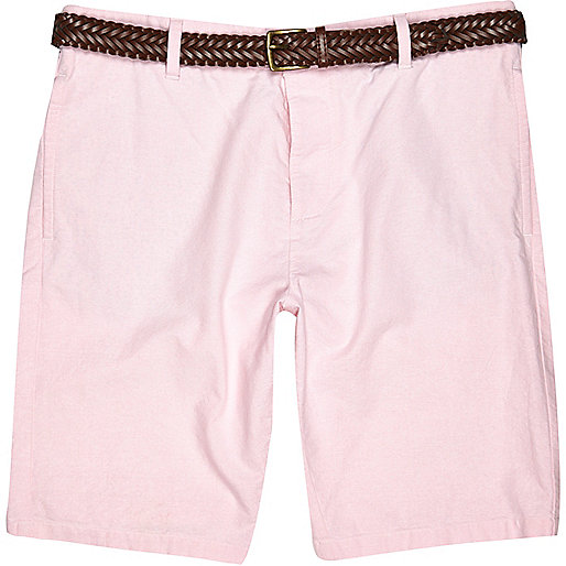 Pink Oxford belted bermuda shorts