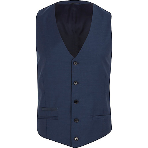 Blue slim waistcoat