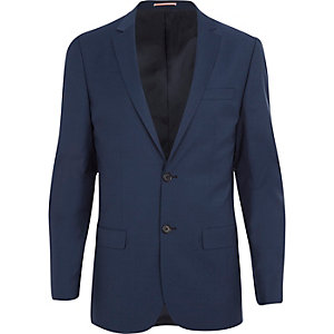 Blue wool-blend skinny suit jacket