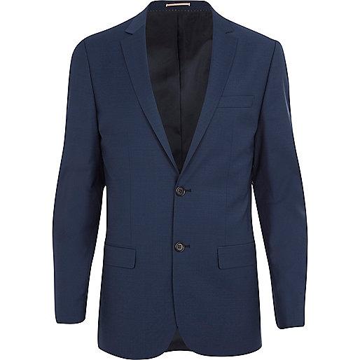 Blue wool-blend skinny suit jacket
