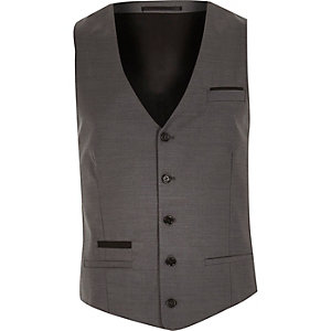 Grey wool-blend contrast waistcoat