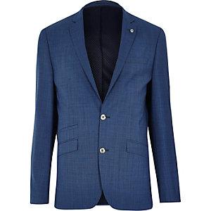 Blue textured slim suit jacket