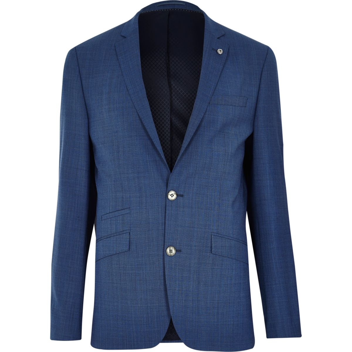 Blue textured slim suit jacket