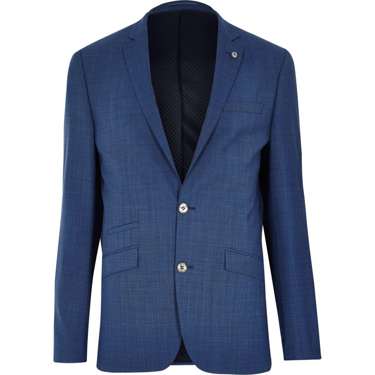 Veste de costume bleue cintrée texturée