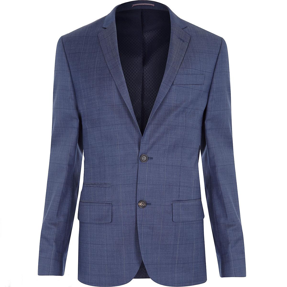 Light navy subtle check slim fit suit jacket