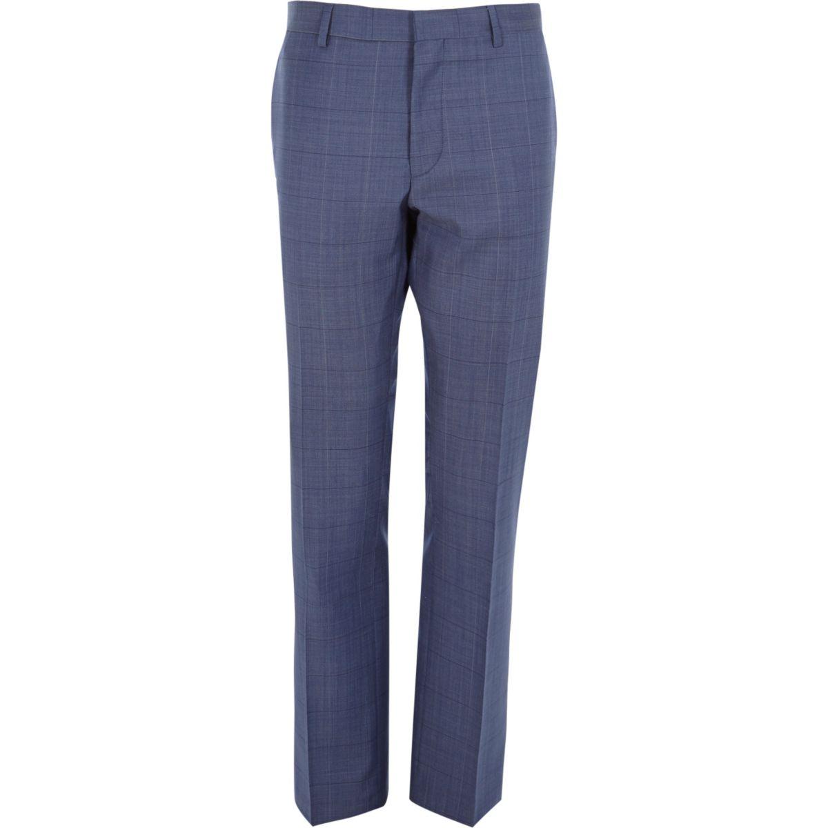 Navy subtle check wool-blend slim pants