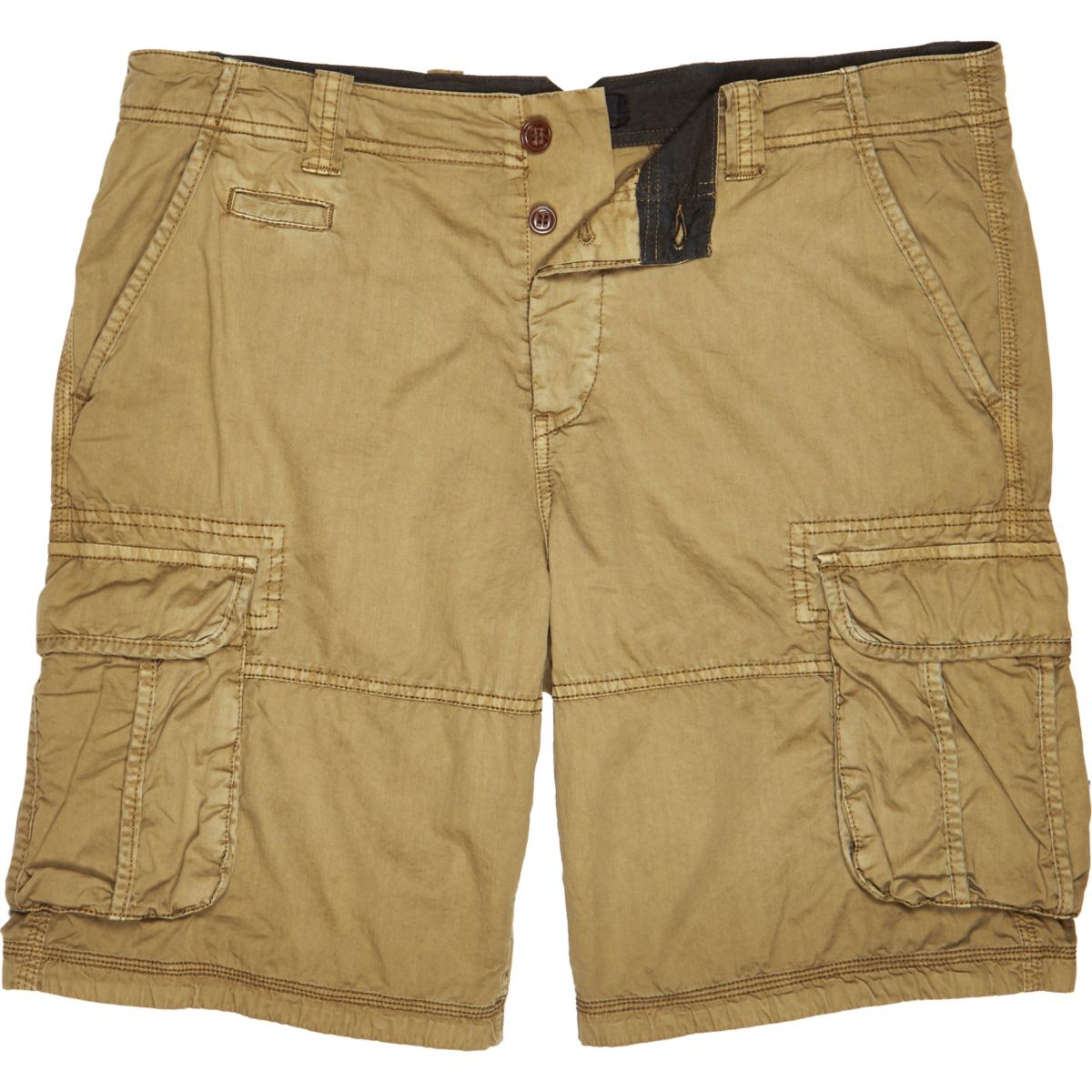 Brown twill cargo knee length shorts