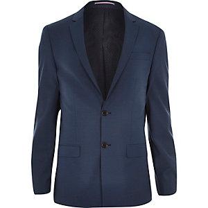 Blue wool-blend slim suit jacket