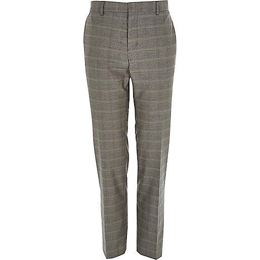 Grey check smart slim pants