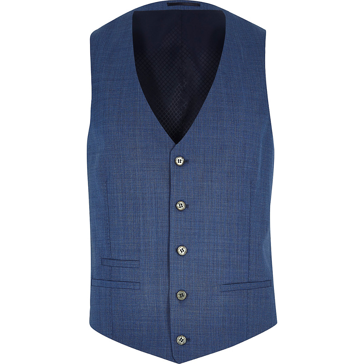 Blue textured wool-blend vest
