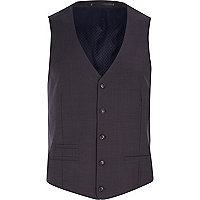 Grey wool-blend button front vest