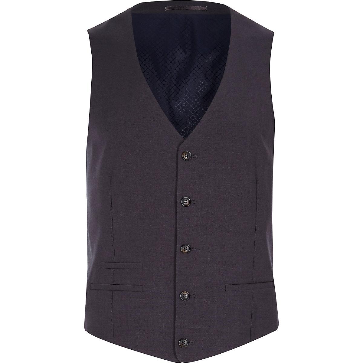 Grey wool-blend button front waistcoat