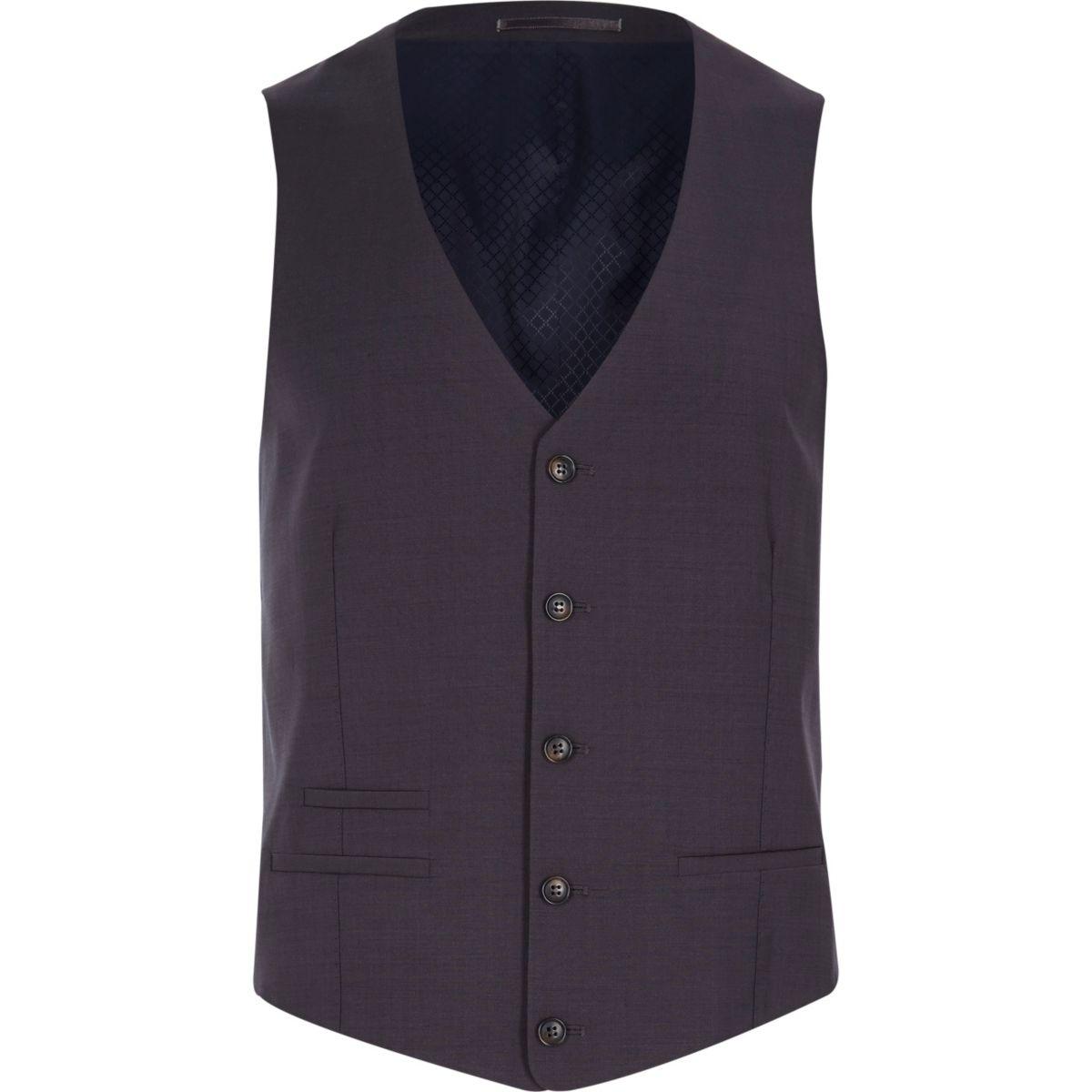 Grey wool-blend button front vest