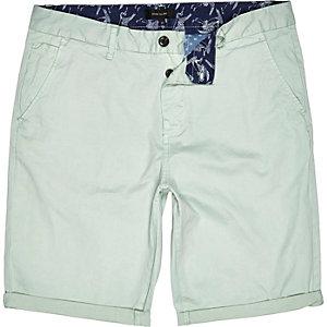 Mint green slim chino shorts