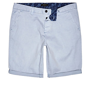 Light blue slim fit chino shorts