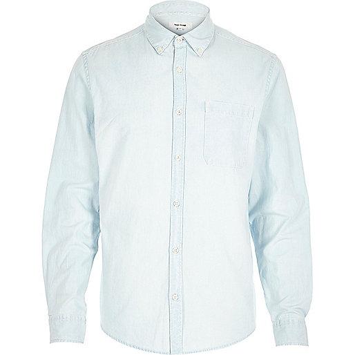 Light wash bleached denim shirt