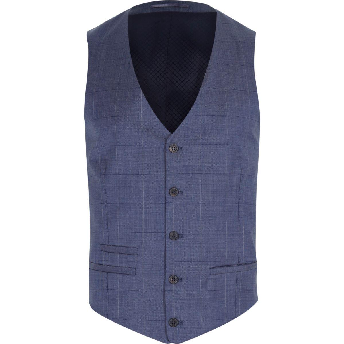 Gilet à carreaux discret bleu en laine mélangée