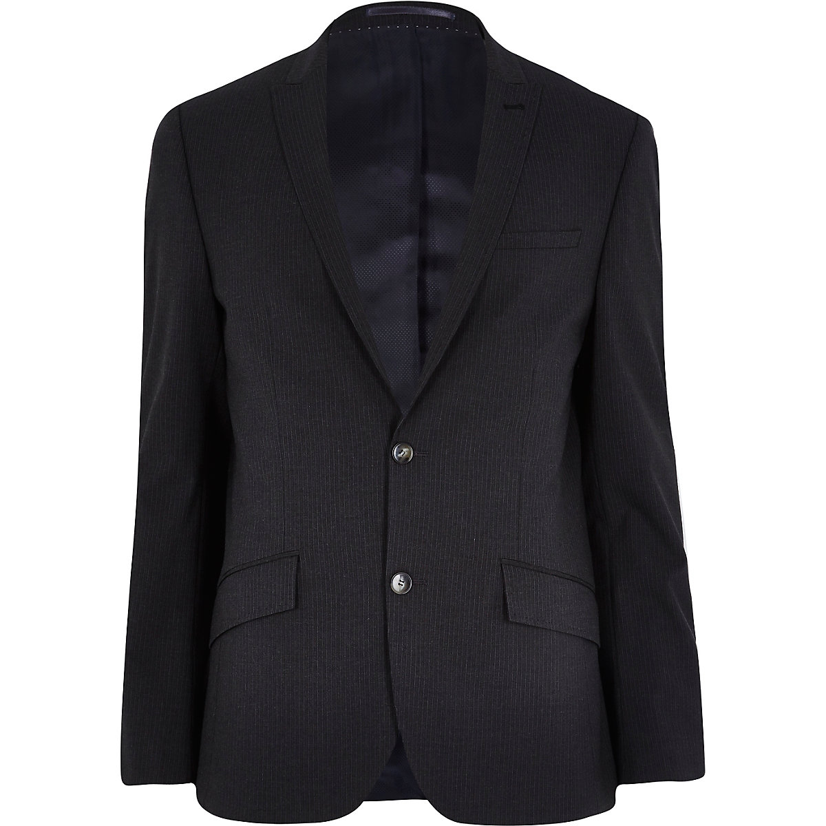 Grey pinstripe slim suit jacket