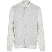 Ecru textured quilted bomber jacket