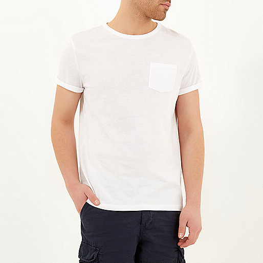 White roll sleeve T-shirt
