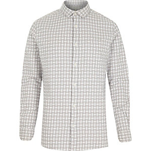 Grey basket weave check shirt