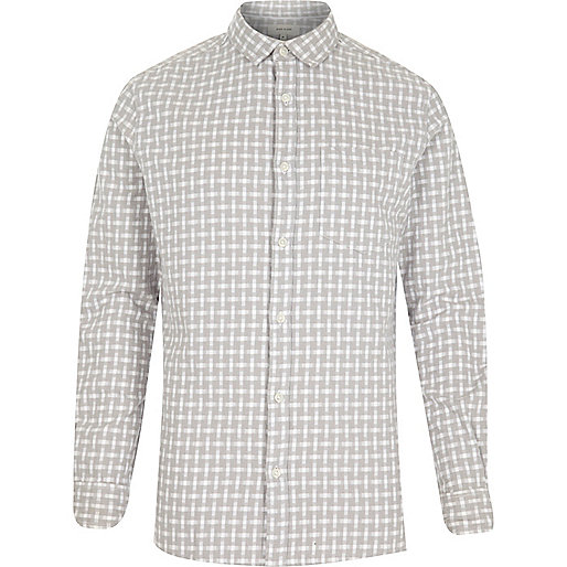 Grey basket weave check shirt
