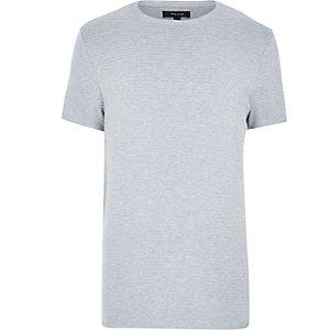 Grey ribbed short sleeve top
