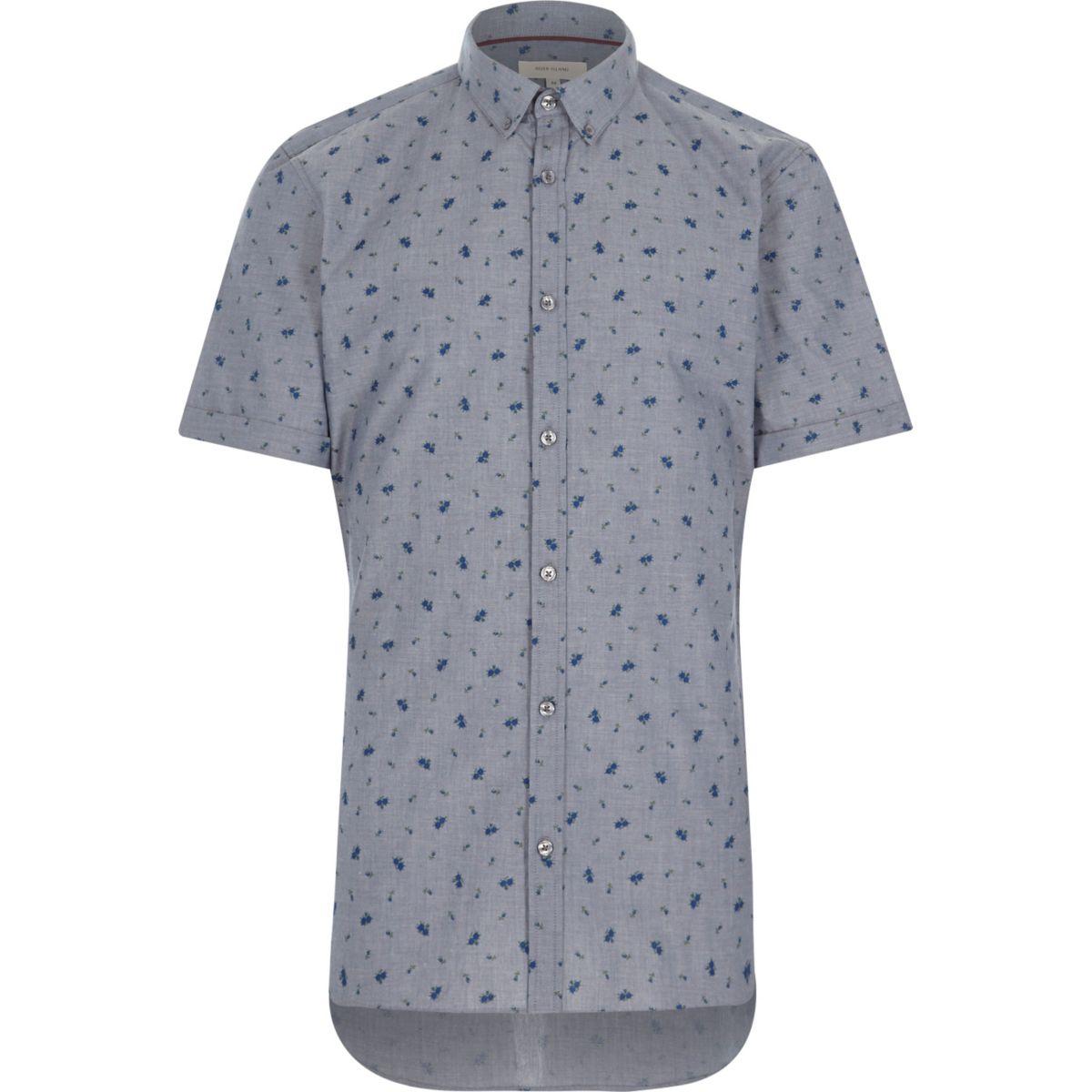 Blue floral print short sleeve shirt