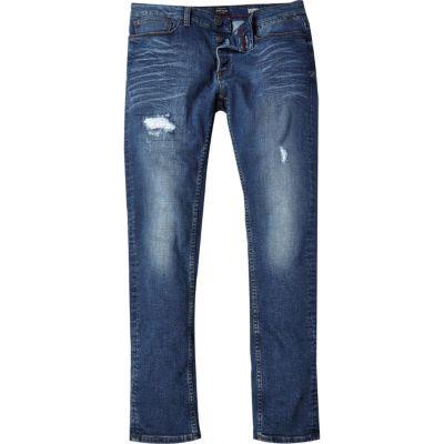 Sid Middenblauwe wash ripped skinny jeans