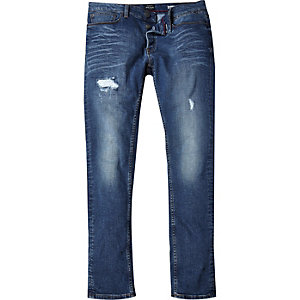 Sid mid blue wash ripped skinny jeans