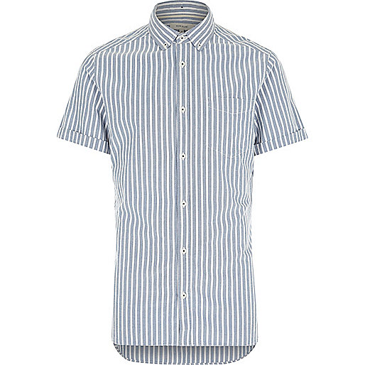 Blue stripe short sleeve shirt