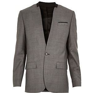 Grey collarless wool-blend slim suit jacket