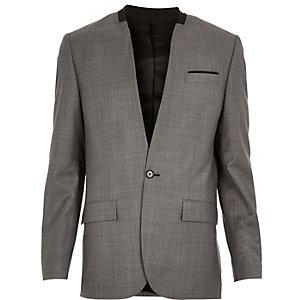 Veste de costume cintrée grise sans col en laine mélangée