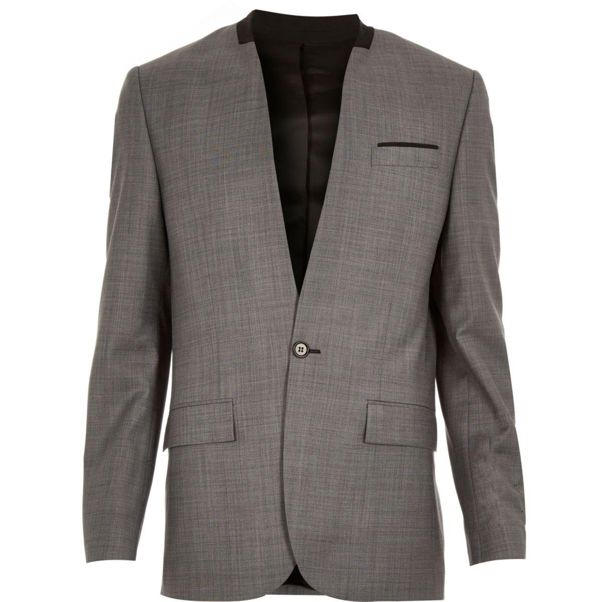 Grey collarless wool-blend slim suit jacket