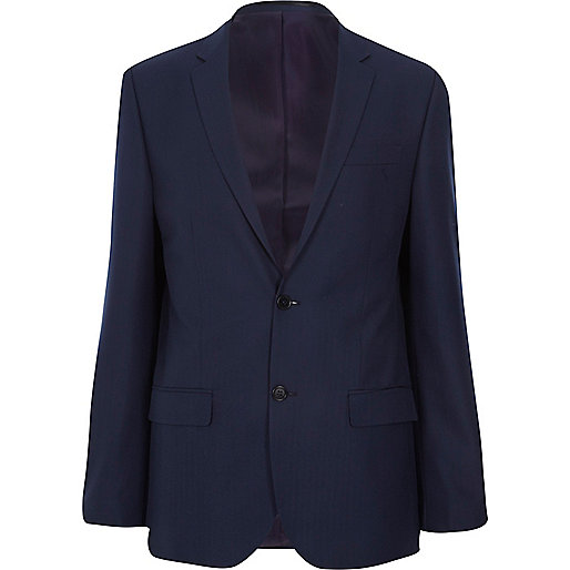Navy herringbone tailored suit jacket