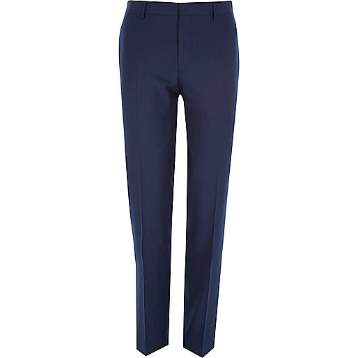 Navy herringbone tailored suit pants