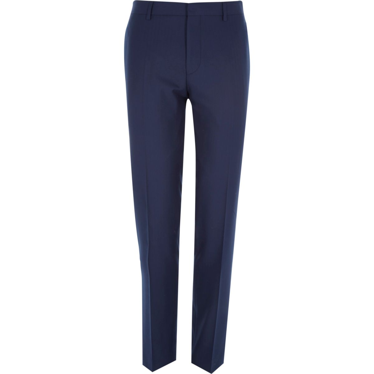Navy herringbone tailored suit trousers