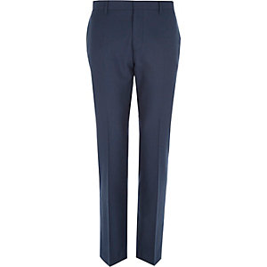 Dark blue tailored suit pants