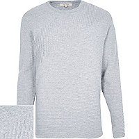 Grey ribbed long sleeve jumper
