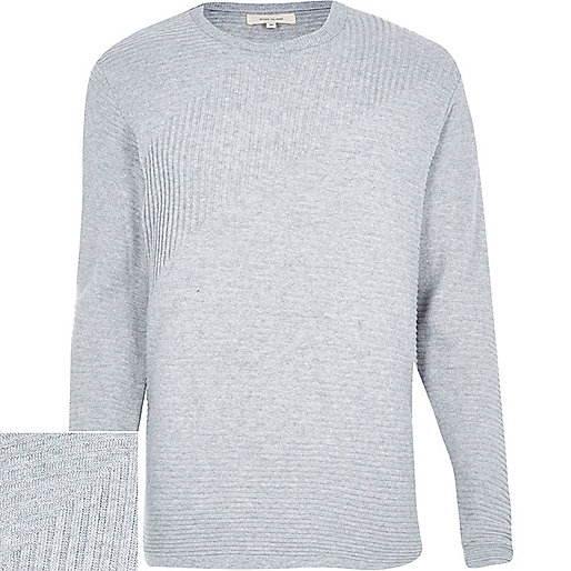 Grey ribbed long sleeve sweater