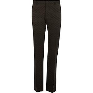 Schwarze schmale Anzughose mit Punkten
