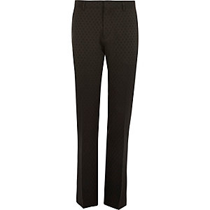 Black polka dot slim tux suit pants